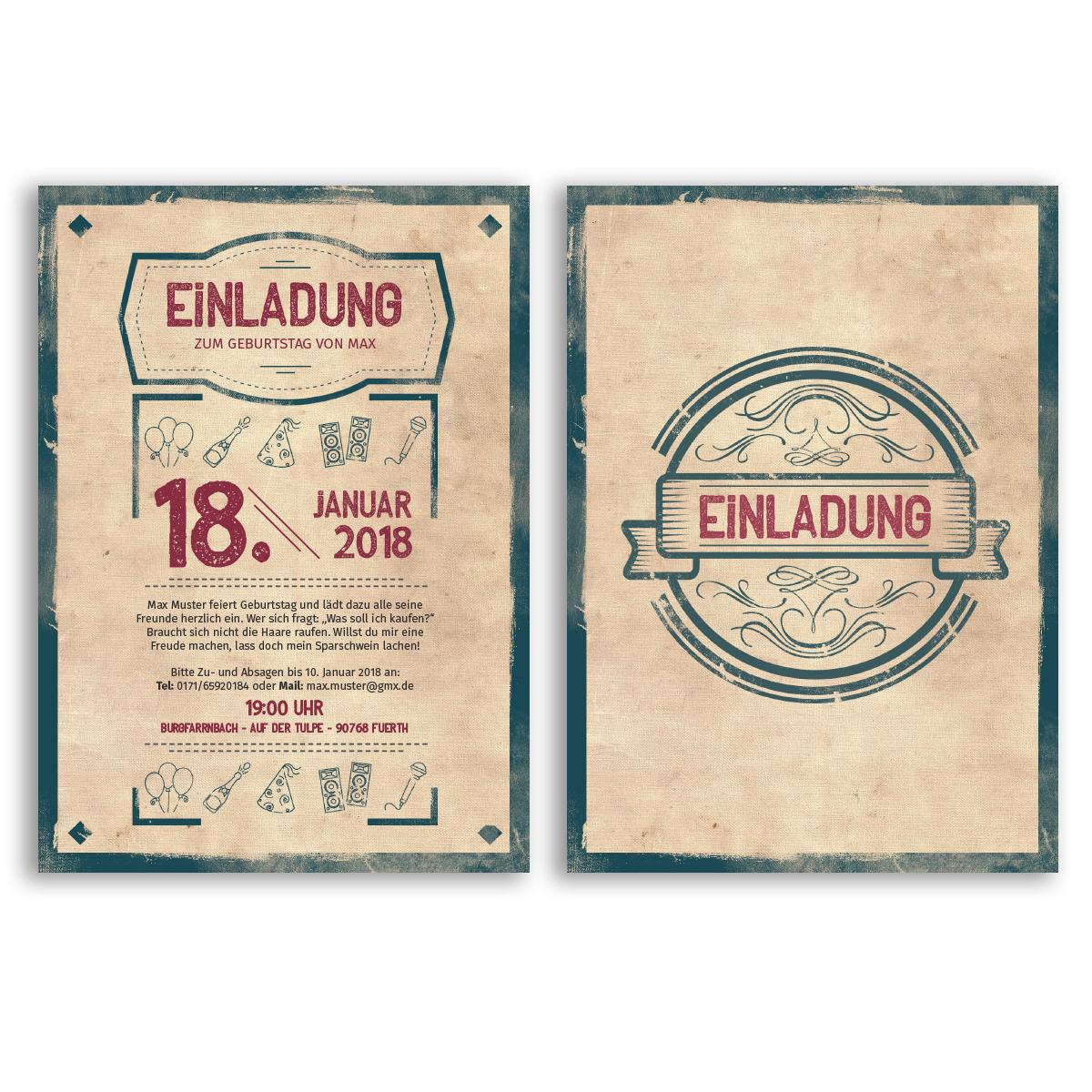 Einladungskarten zum Geburtstag Retro Vintage Alt Karten Einladung ...