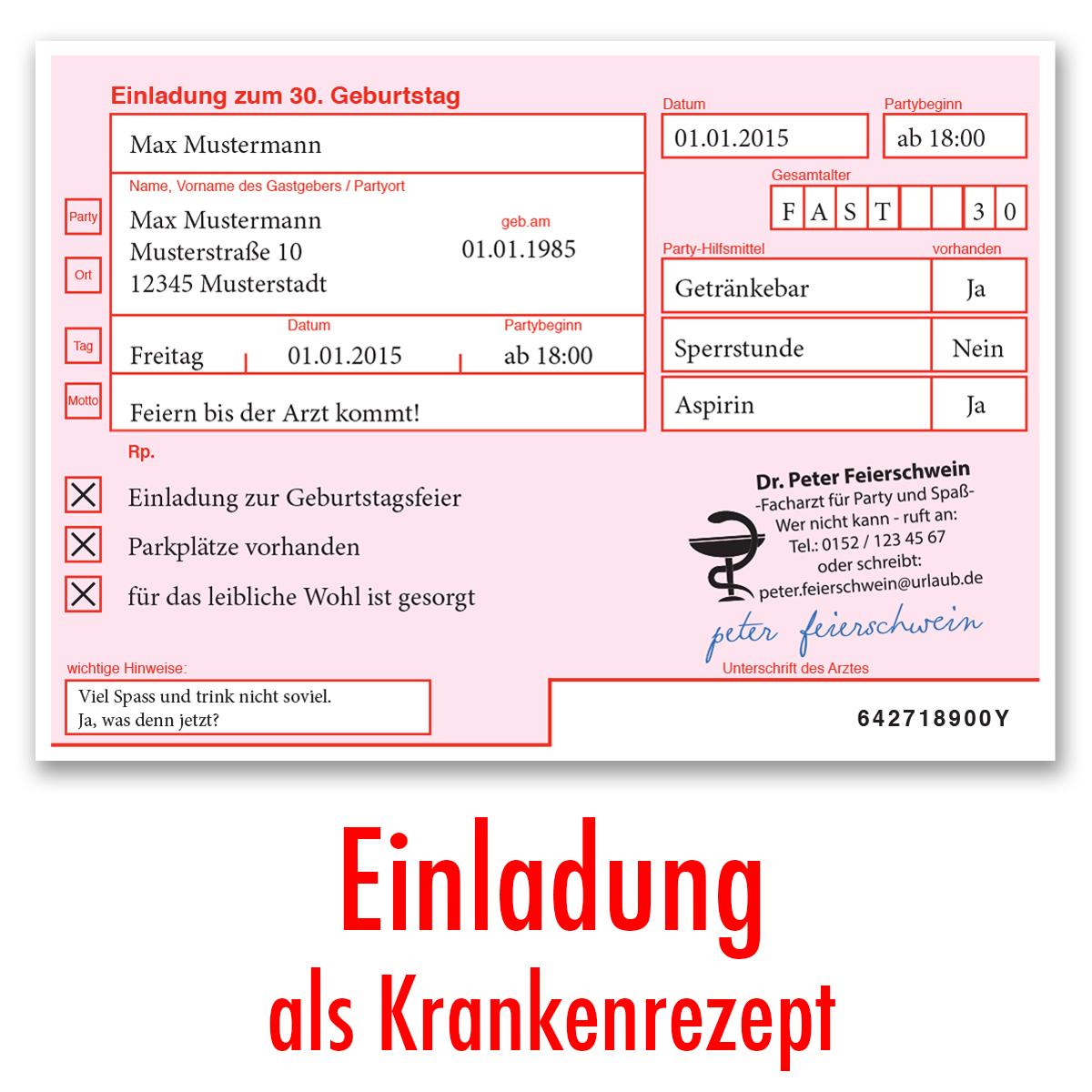 Einladungskarten zum Geburtstag als ärztliches Rezept Arzt Rosa Verschreibung | eBay
