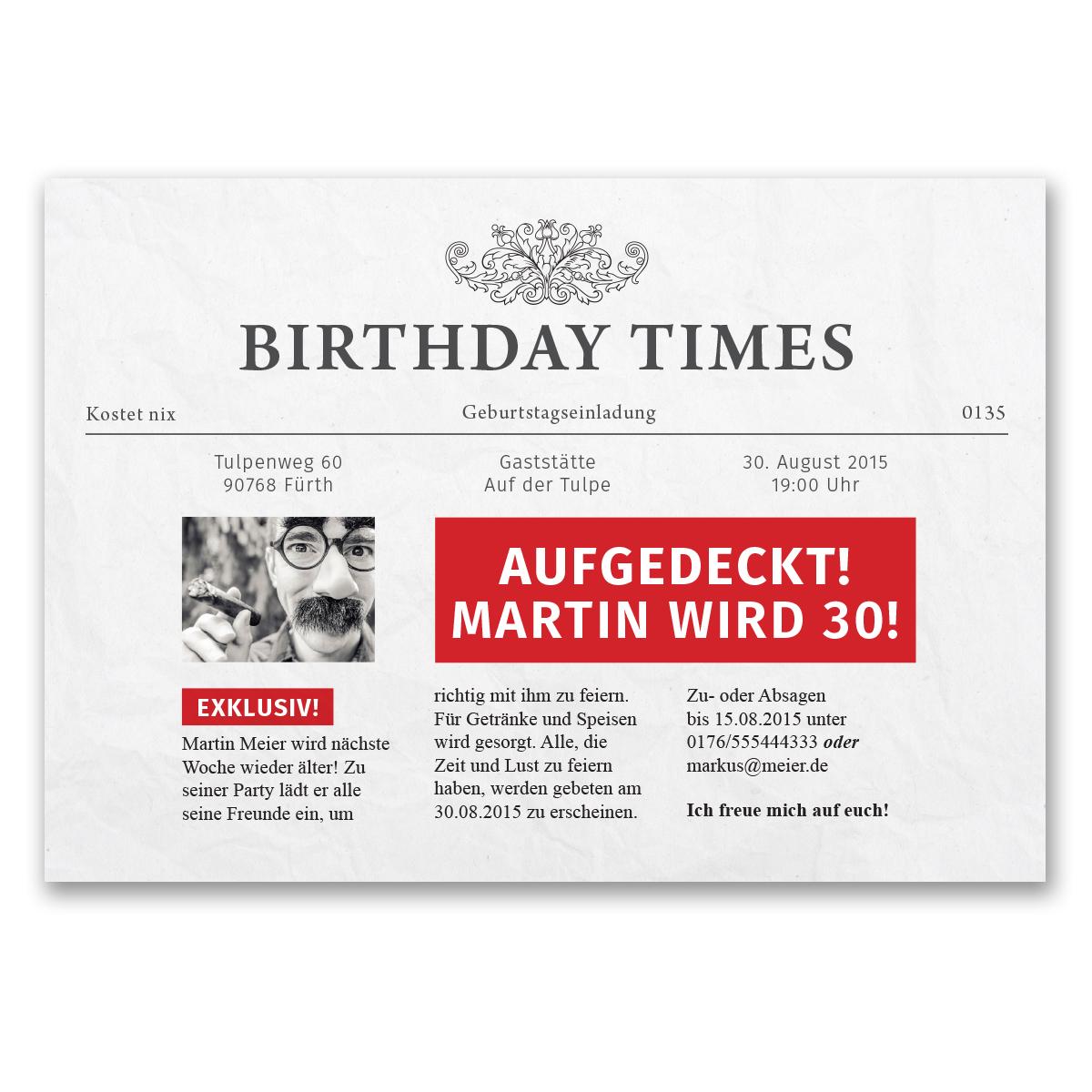 Einladungskarten zum geburtstag als zeitung nachrichten for Nachrichten magazin