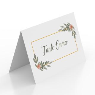 Tischkarten zur Taufe - Gold Pflanzen