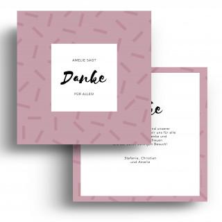 Geburtskarten Danksagungskarten - Striche Rosa Mädchen