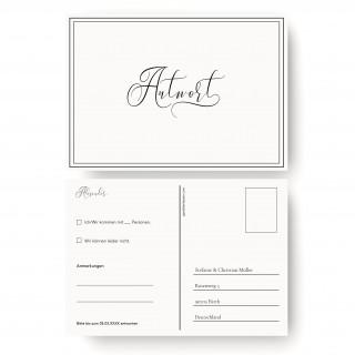 Antwortkarten Hochzeit - Edel Schwarz Weiß