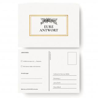 Antwortkarten Hochzeit - Weiß Gold