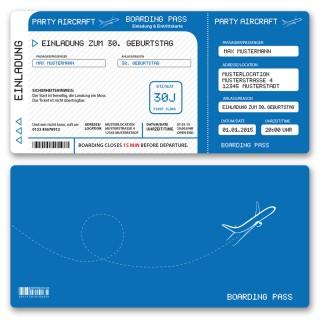 Einladungskarten als Flugticket - Blau