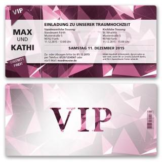 Hochzeitskarten als Eintrittskarte - VIP Lila