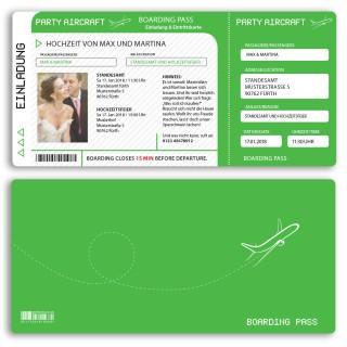 Hochzeitskarten als Flugticket - Grün