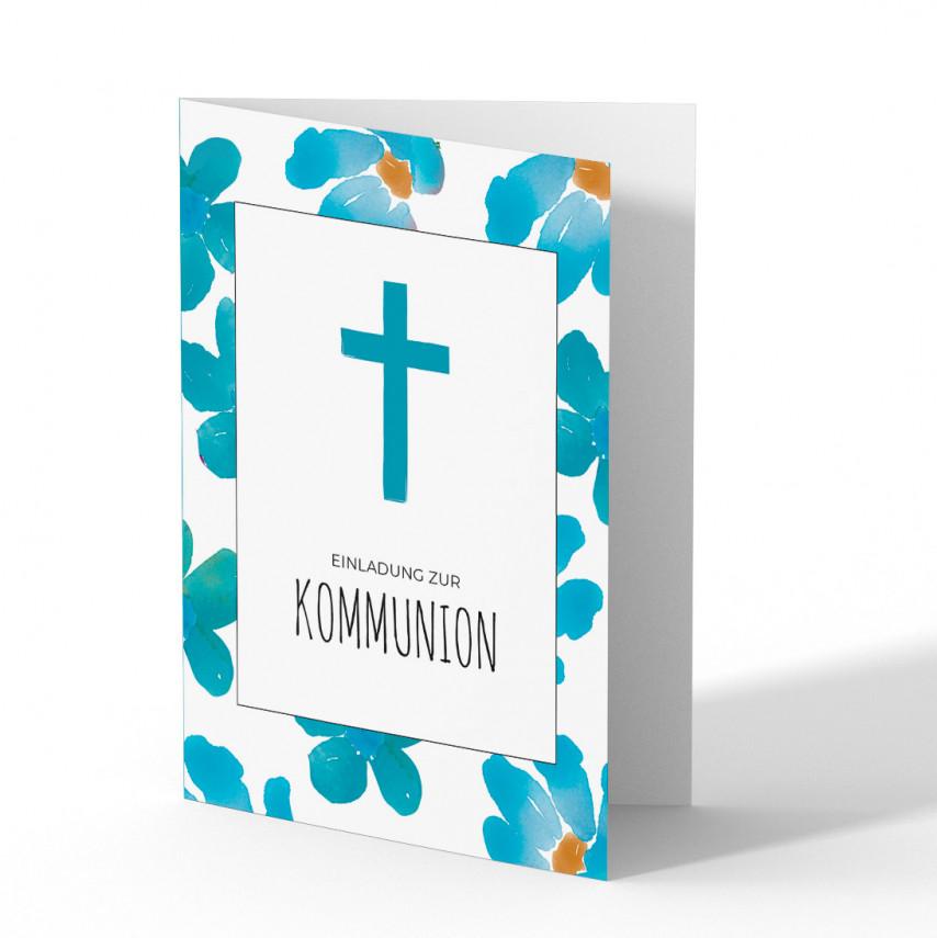 Kommunionskarten Einladung - Blumen