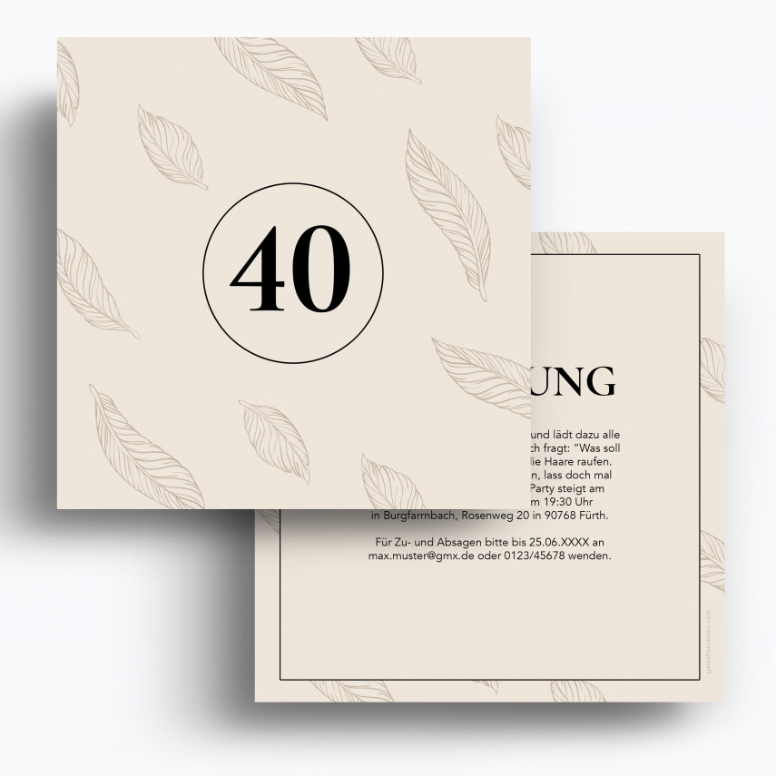 Einladung 40. Geburtstag - Federn