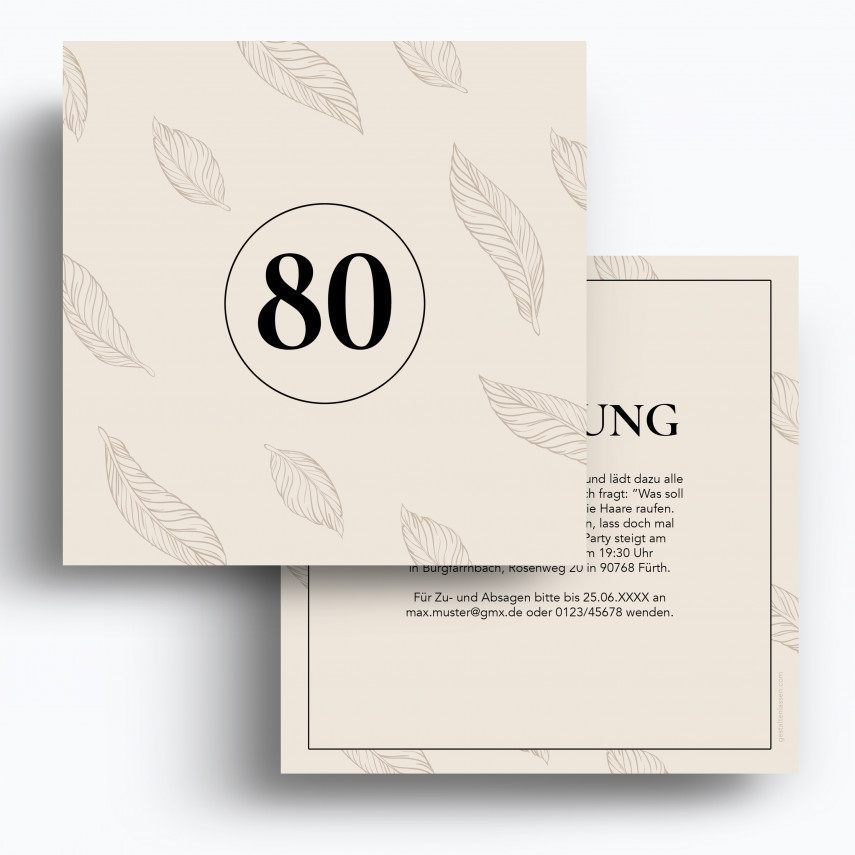 Einladung 80. Geburtstag - Federn