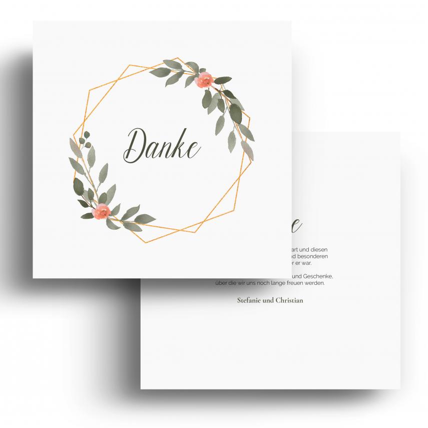 Hochzeit Dankeskarten - Gold Pflanzen