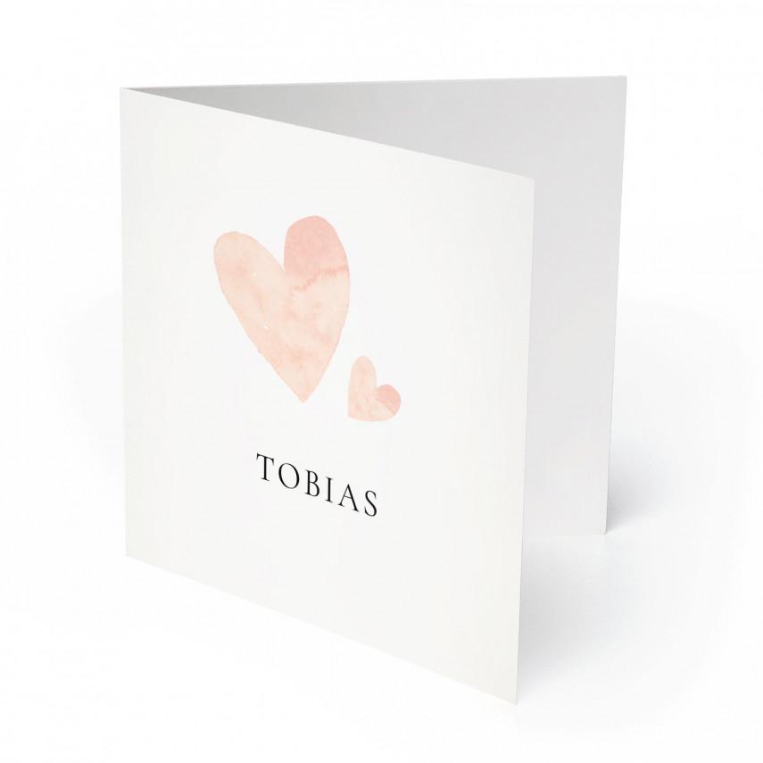 Geburtskarten - Herzen für Jungen