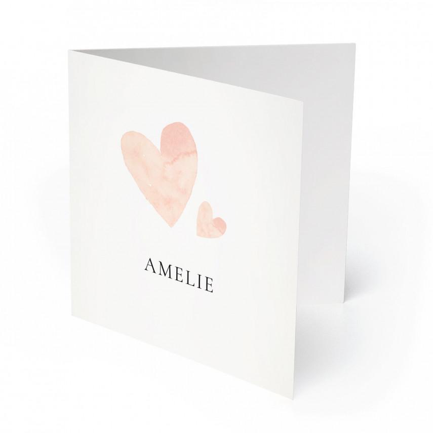 Geburtskarten - Herzen für Mädchen