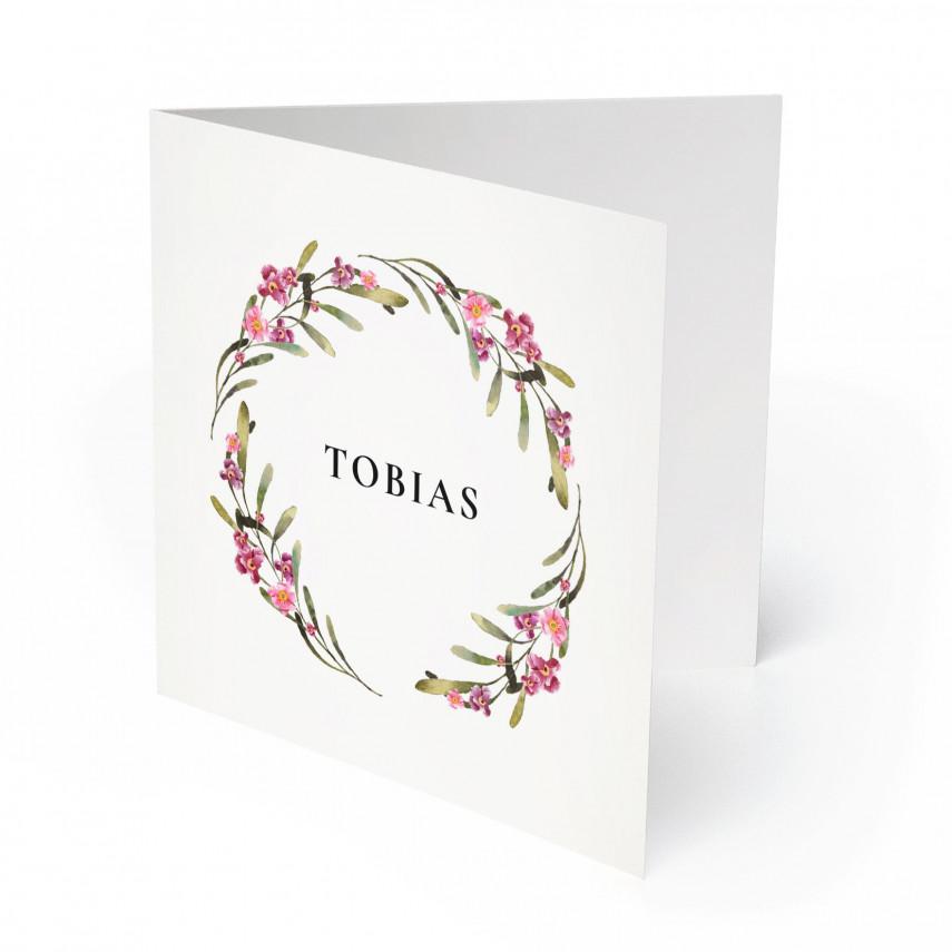 Geburtskarten - Blumenkranz für Jungen