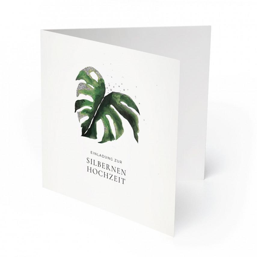 Hochzeitseinladungen Silberne Hochzeit - Silberblatt