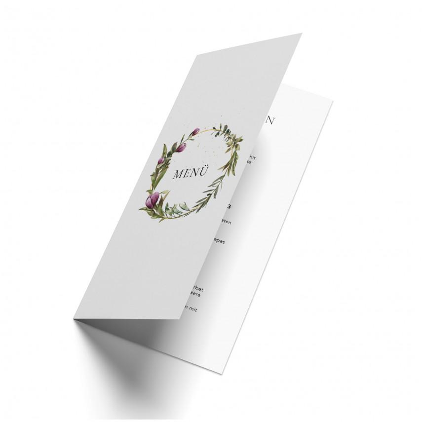 Hochzeit Menükarten - Blumenkranz