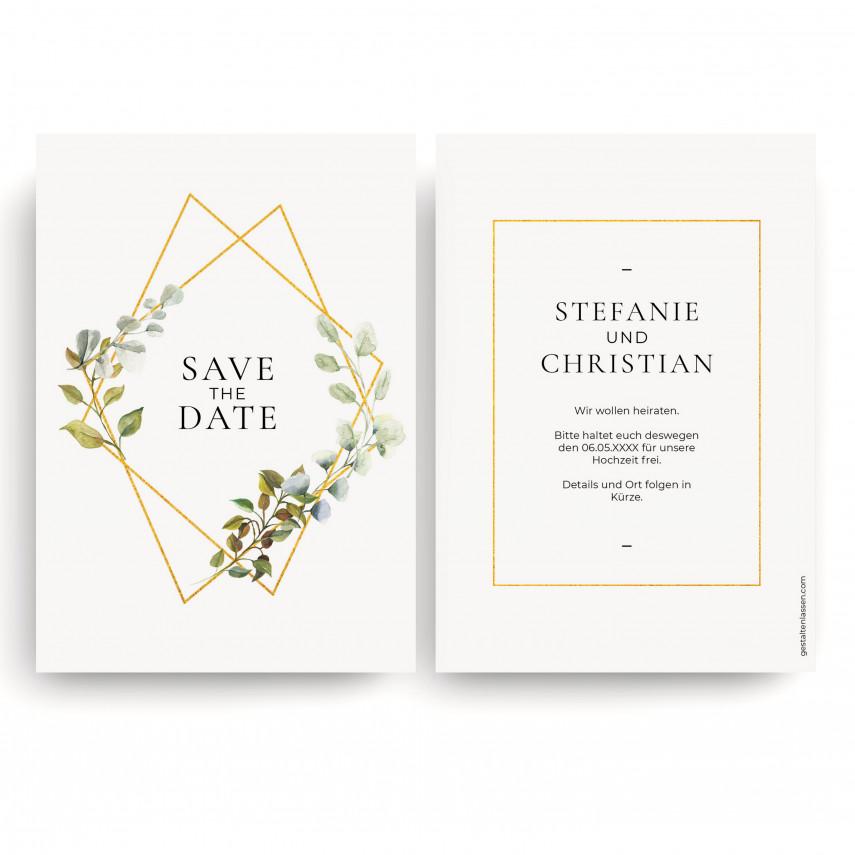 Save the Date Karten zur Hochzeit - Goldene Raute