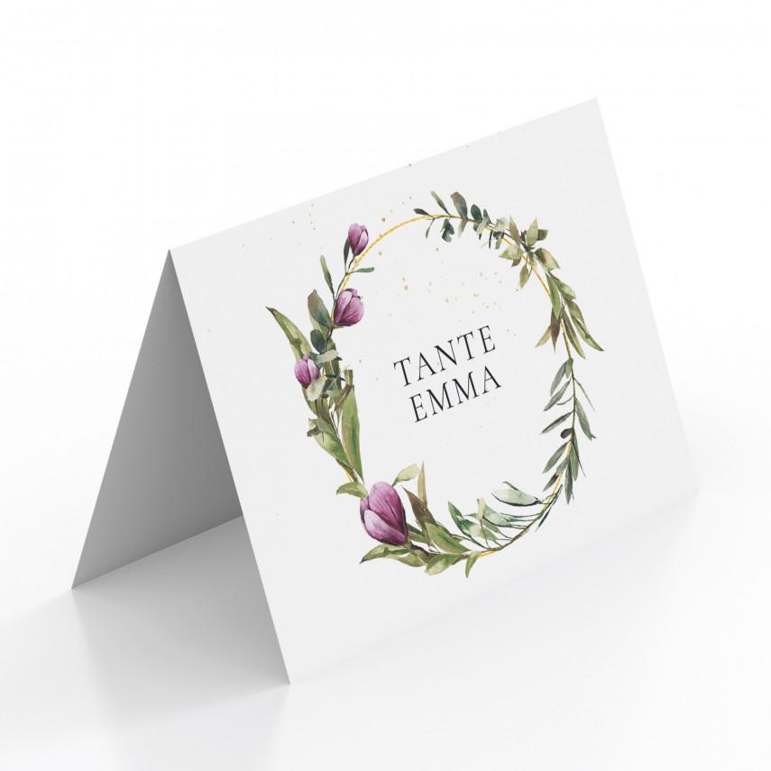Tischkarten zur Hochzeit - Blumenkranz