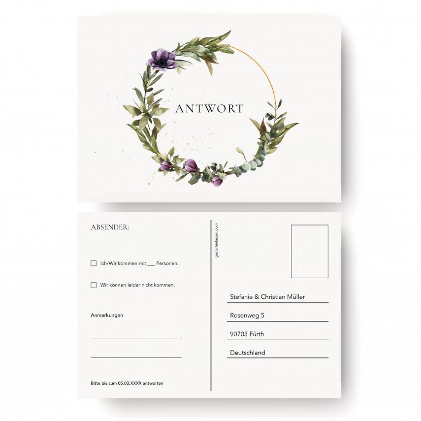 Antwortkarten Hochzeit - Blumenkranz