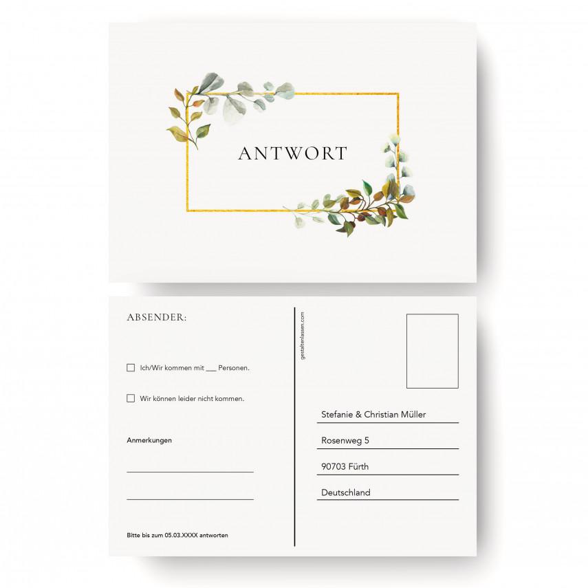 Antwortkarten Hochzeit - Goldene Raute