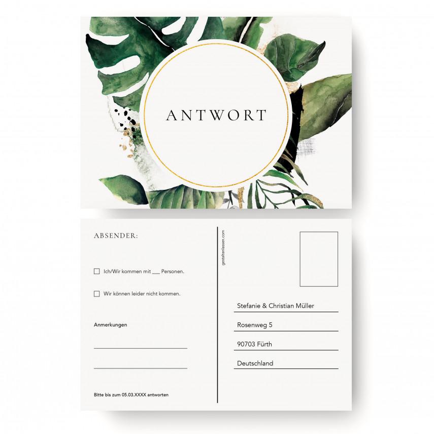 Antwortkarten Hochzeit - Goldblatt