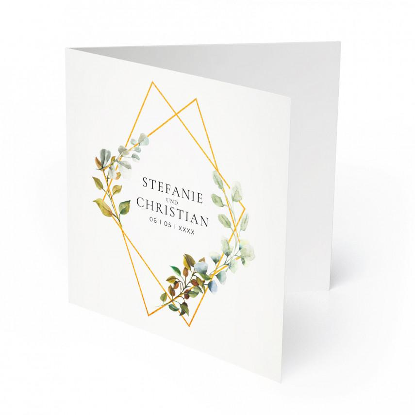 Einladungen zur Hochzeit - Goldene Raute
