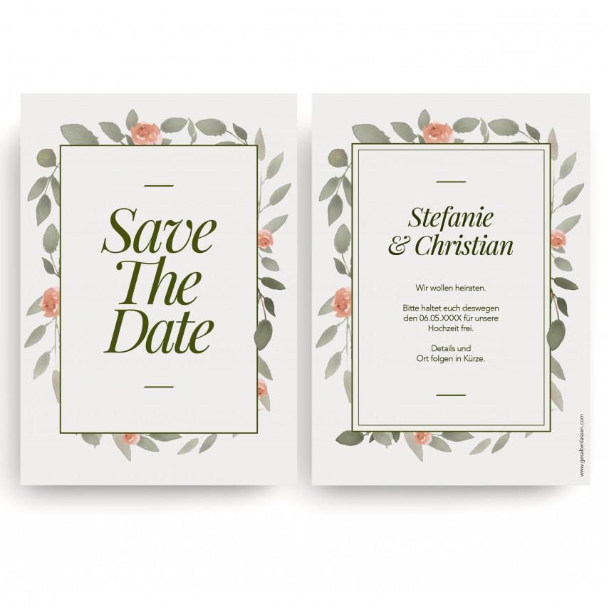 Save the Date Karten zur Hochzeit - Wasserfarben Blumen