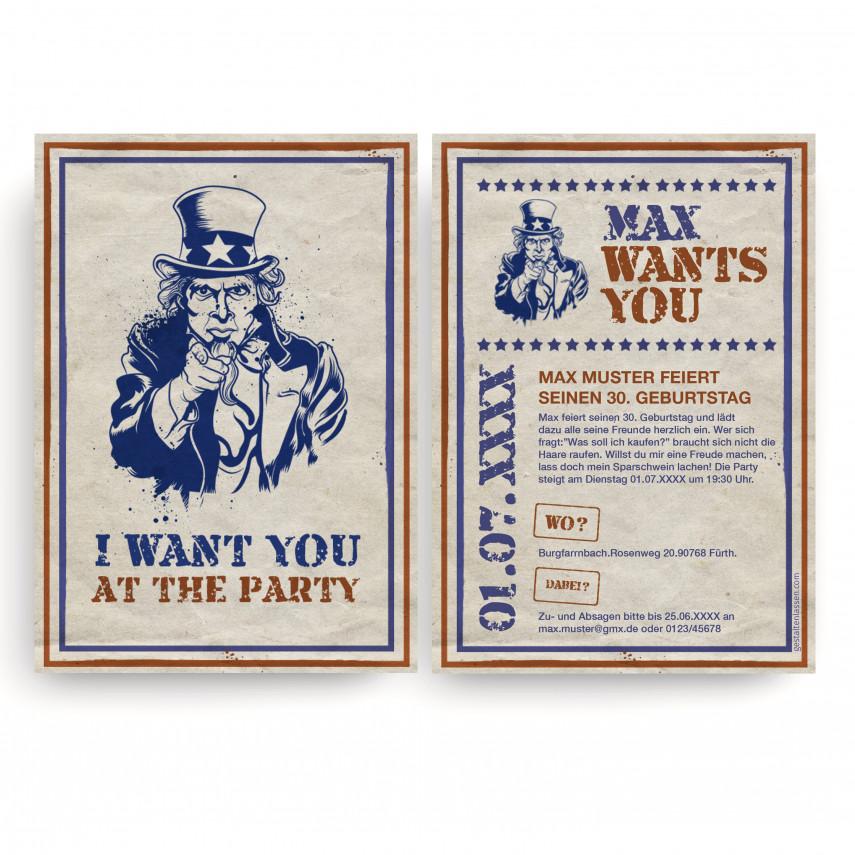 Geburstag Einladungskarten - I want you
