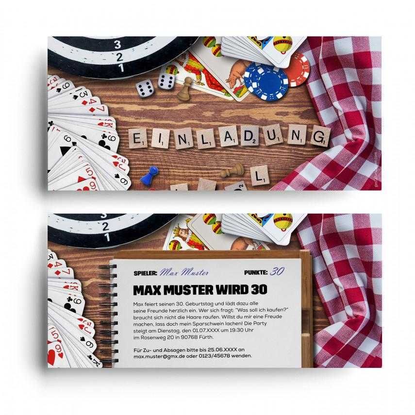 Einladungskarten zum Geburtstag - Spieleabend