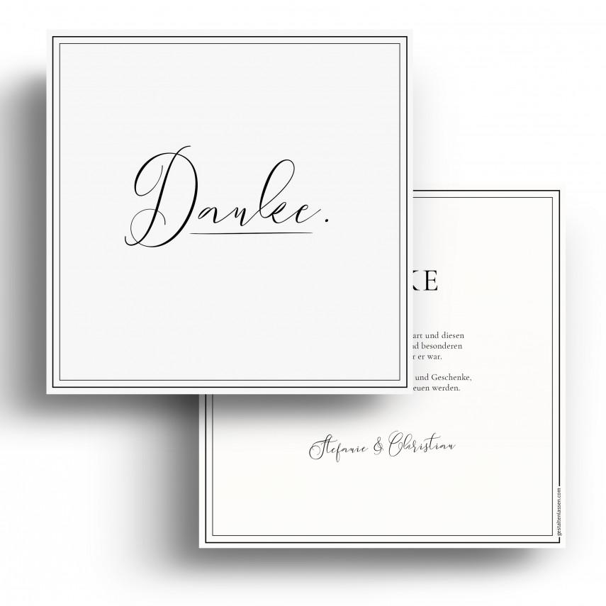 Hochzeit Dankeskarten - Edel Schwarz Weiß