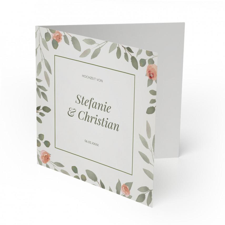 Einladungen zur Hochzeit - Wasserfarben Blumen