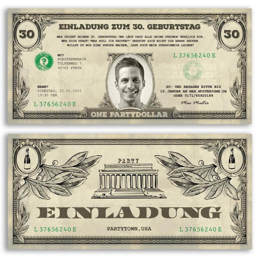 Einladungskarten als Dollarschein