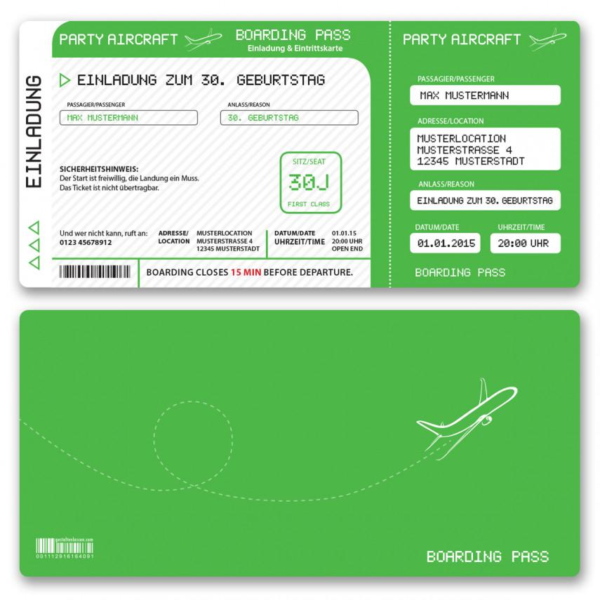 Einladungskarten als Flugticket - Grün
