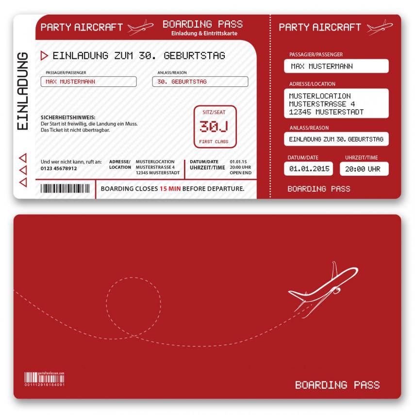Einladungskarten als Flugticket - Rot