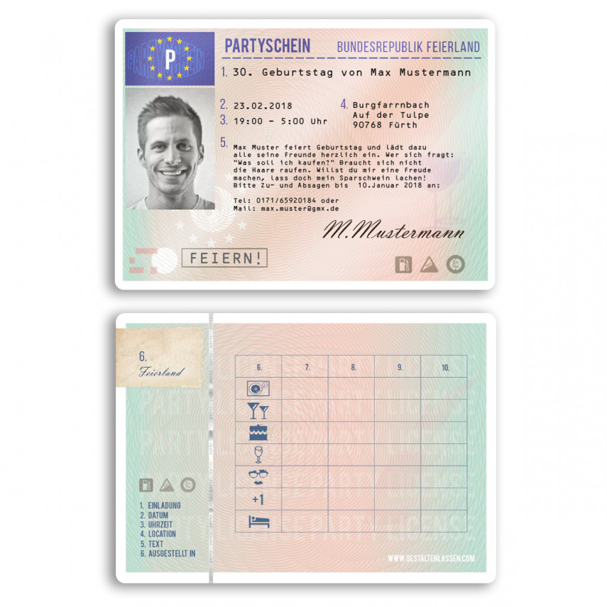 Einladungskarten als Führerschein