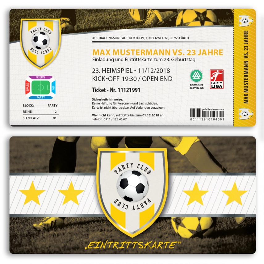 Einladungskarten als Fussballticket - Gelb