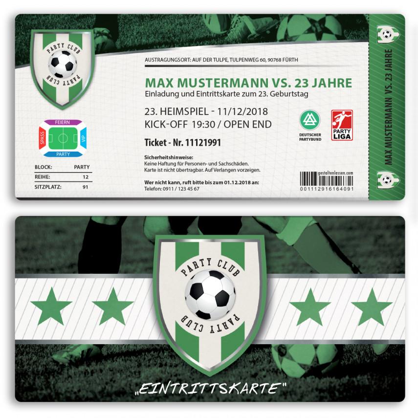 Einladungskarten als Fussballticket - Grün