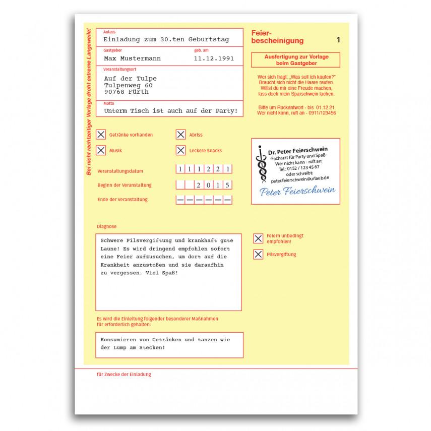 Einladungskarten als Krankschreibung