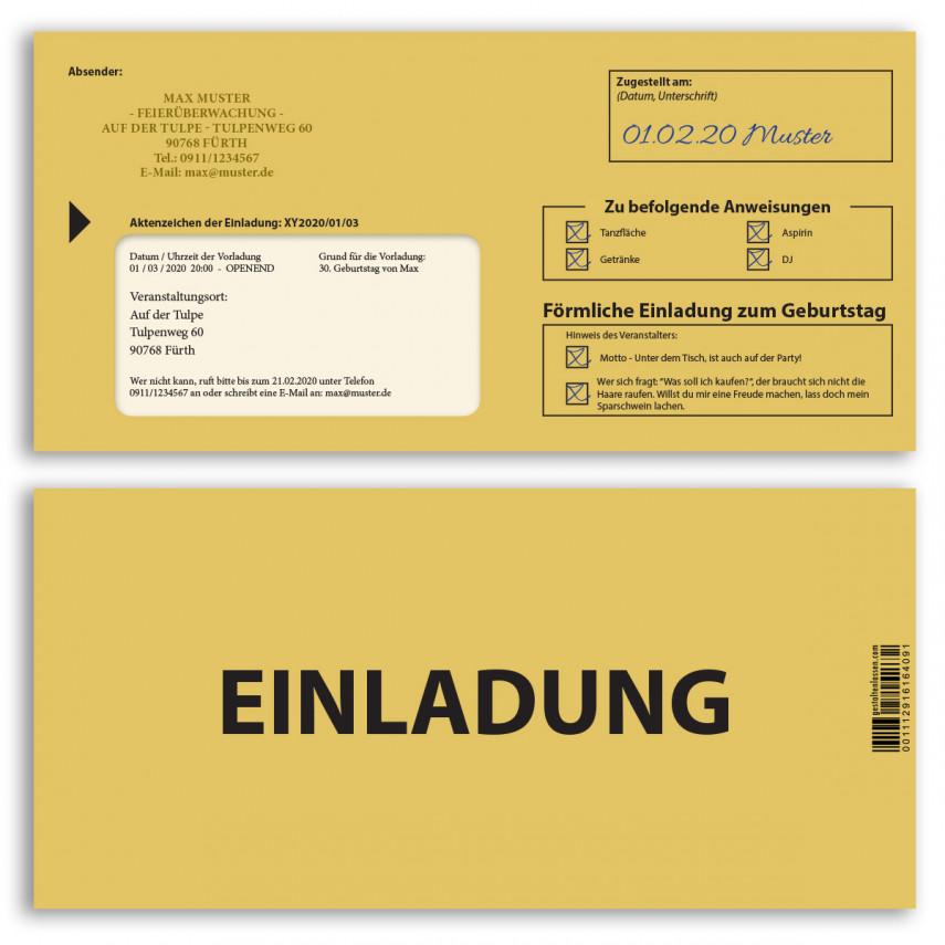 Einladungskarten als Mahnbescheid