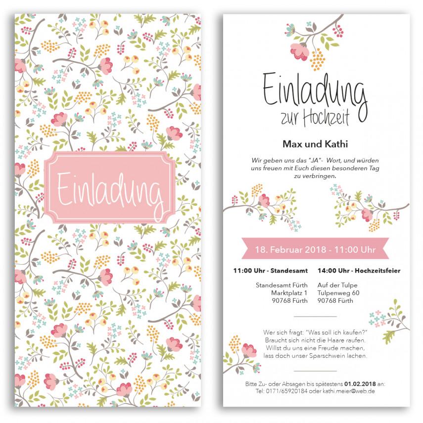 Hochzeitseinladungen - Blumen pink