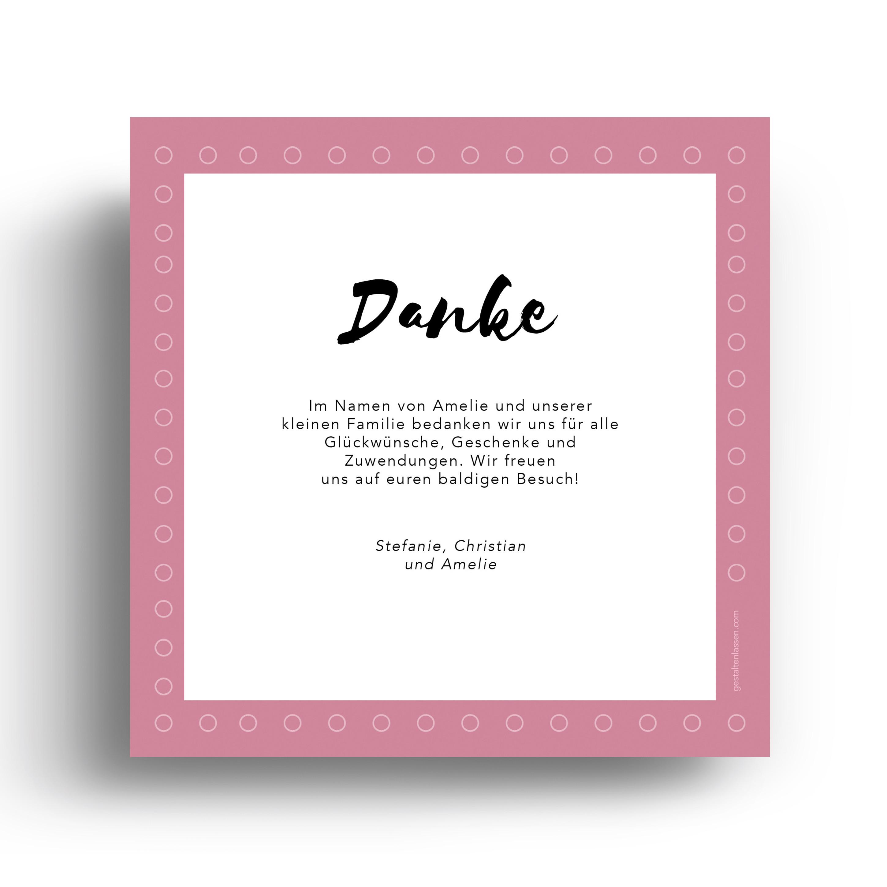 Geburtskarten Danksagungskarten Punkte Rosa Mädchen