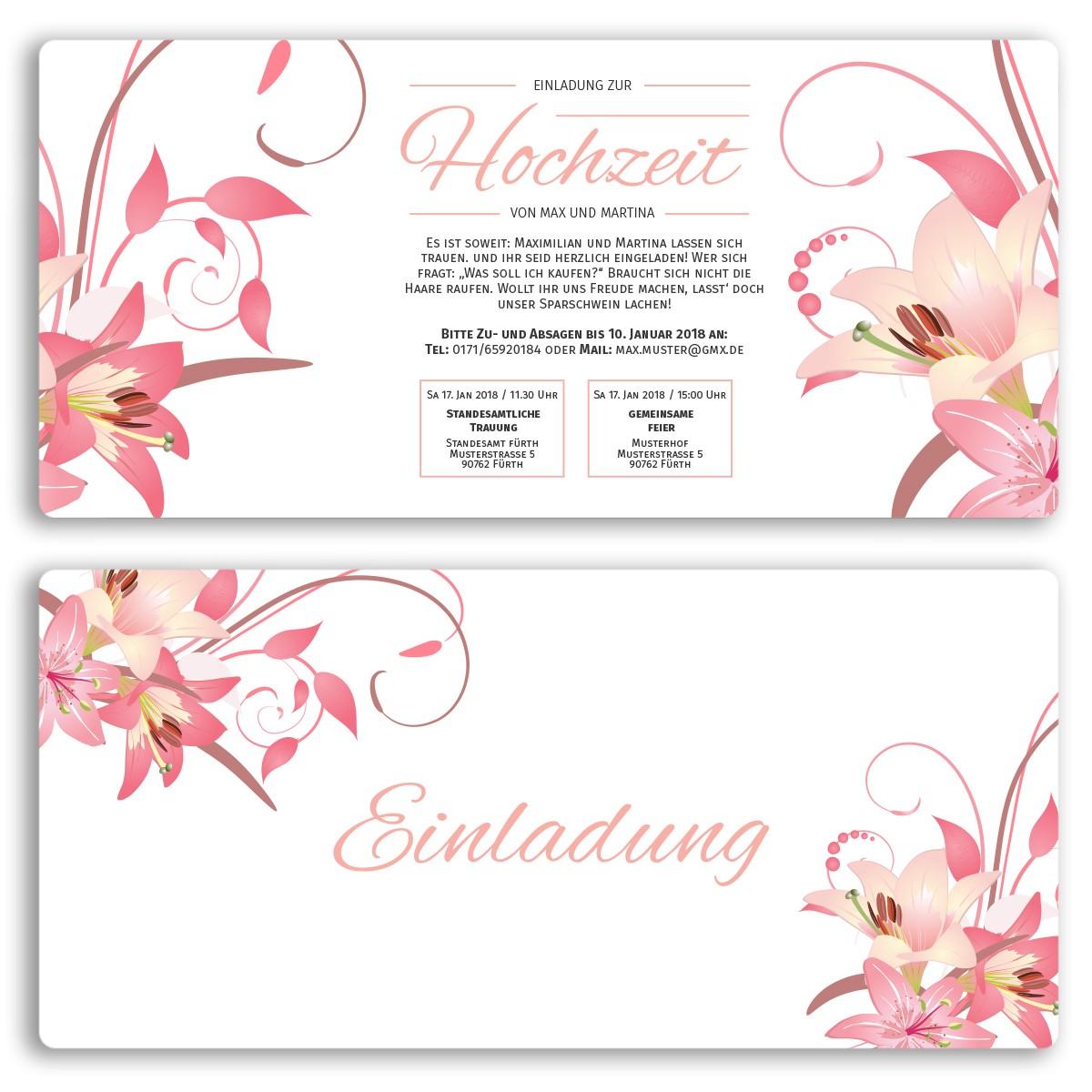 Hochzeitskarten mit Blumendesign bestellen!