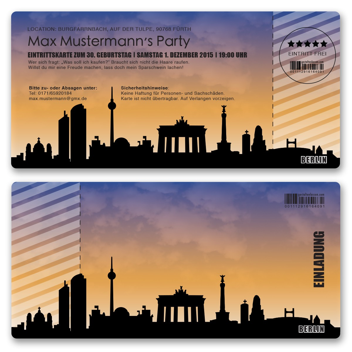 Einladungskarte Als Skyline   Berlin
