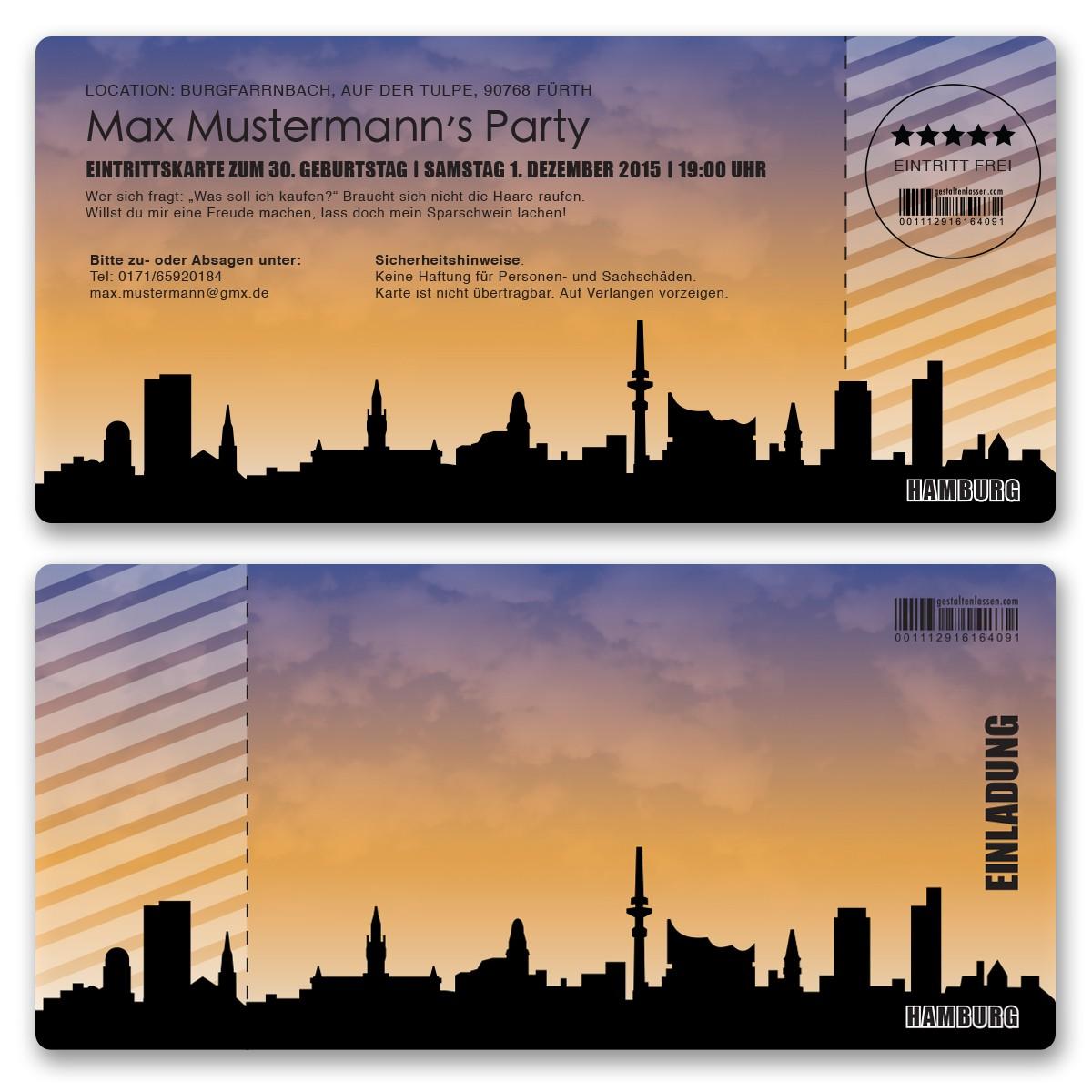 Einladungskarte Als Skyline   Hamburg