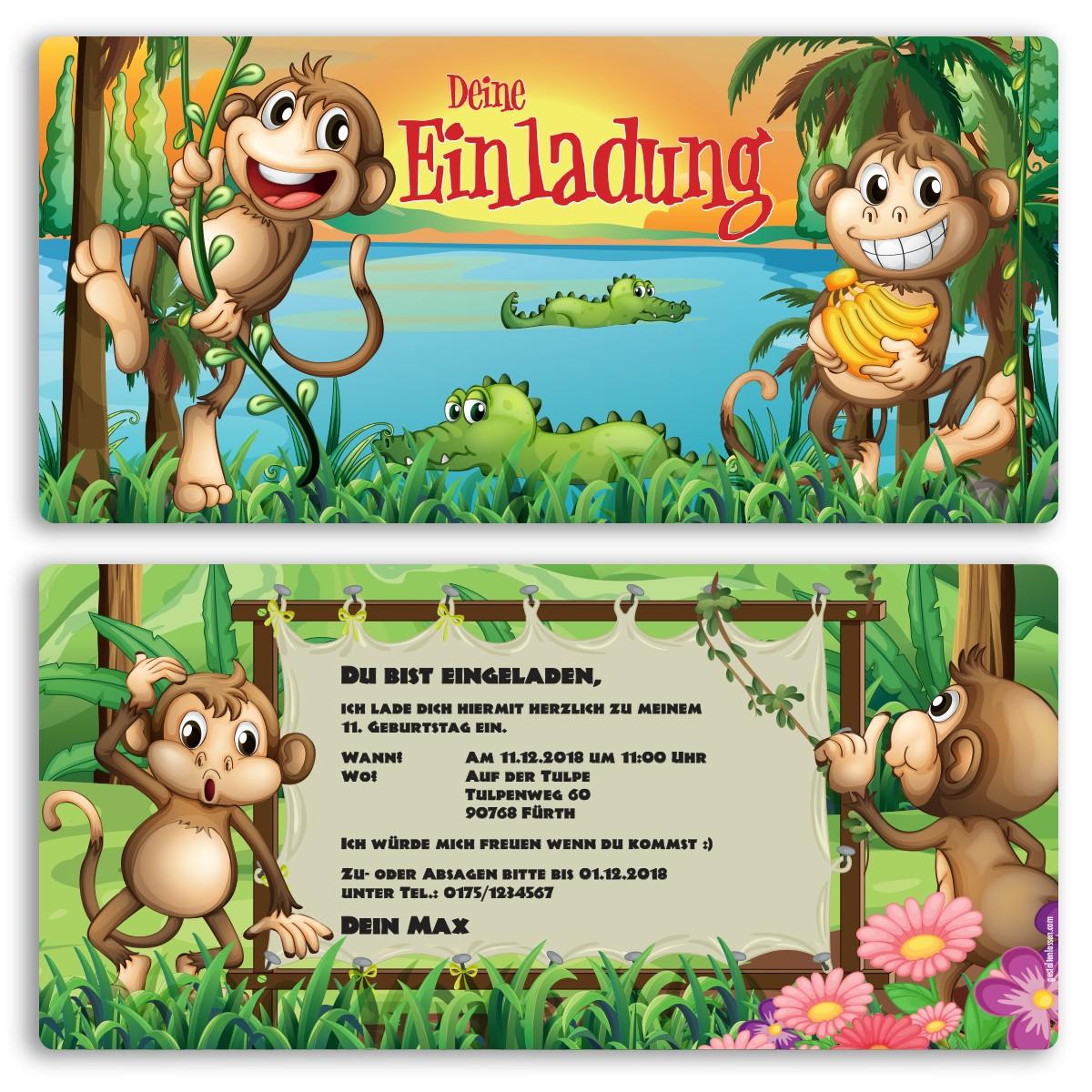 Einladungskarten   Affen