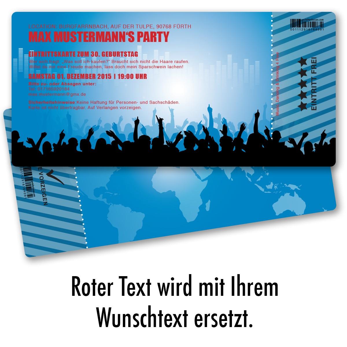 einladungskarten als eintrittskarte in blau ab 55 cent / einladung, Einladung