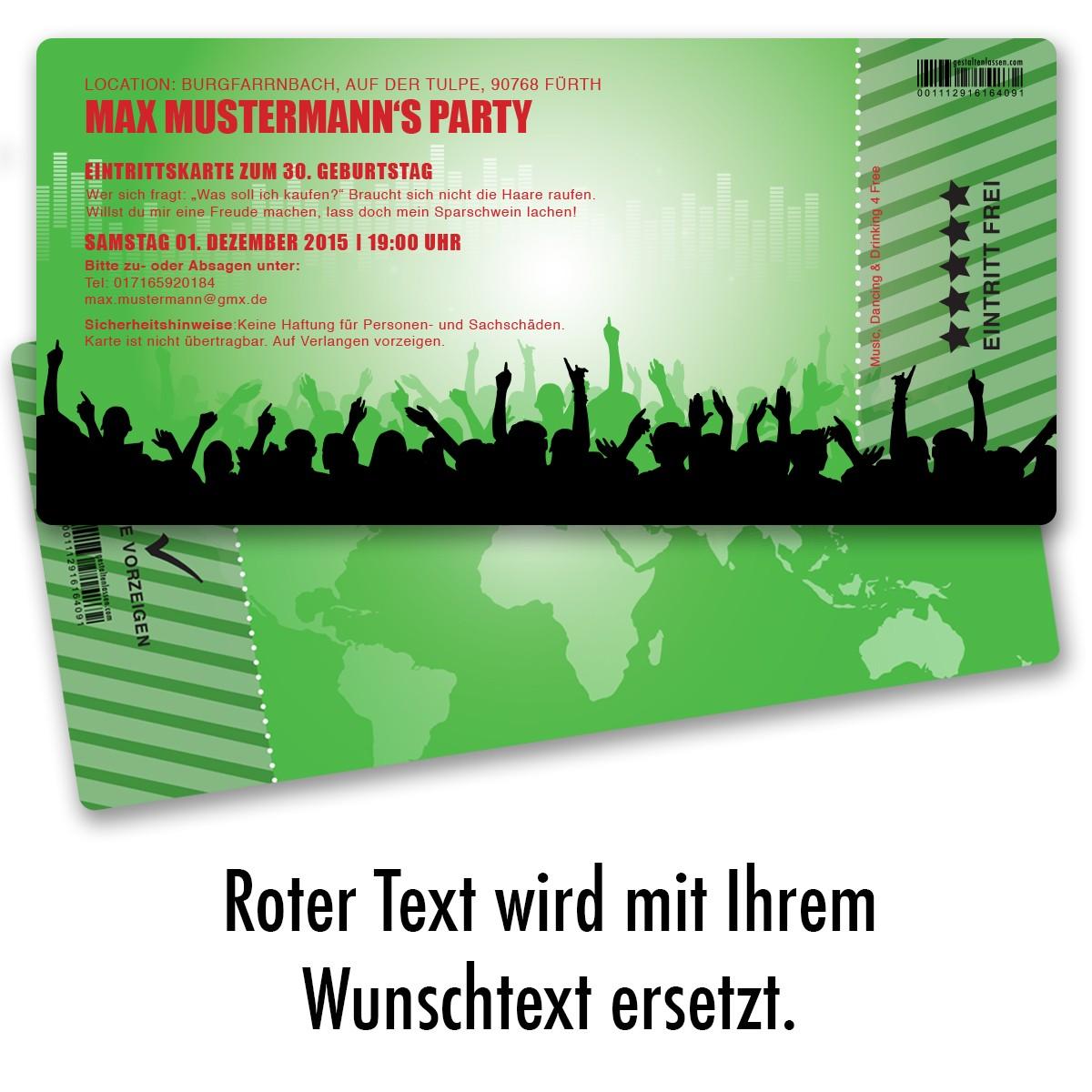 Einladungskarten Als Eintrittskarte   Beats Grün