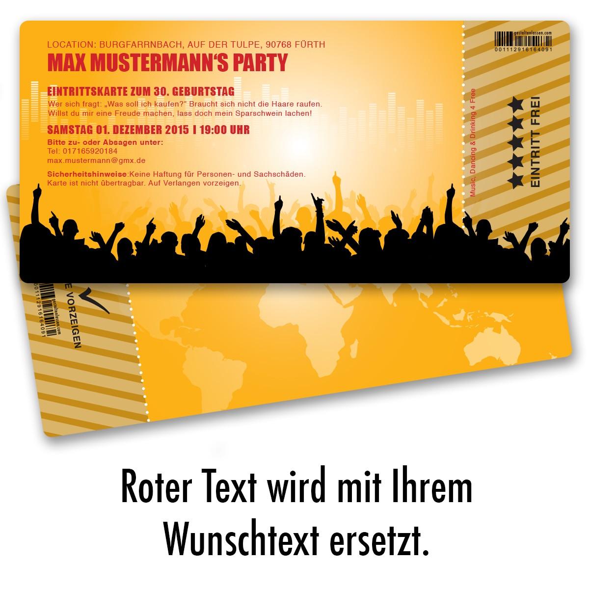 einladungskarten als eintrittskarte orange ab 55 cent / einladung, Einladung