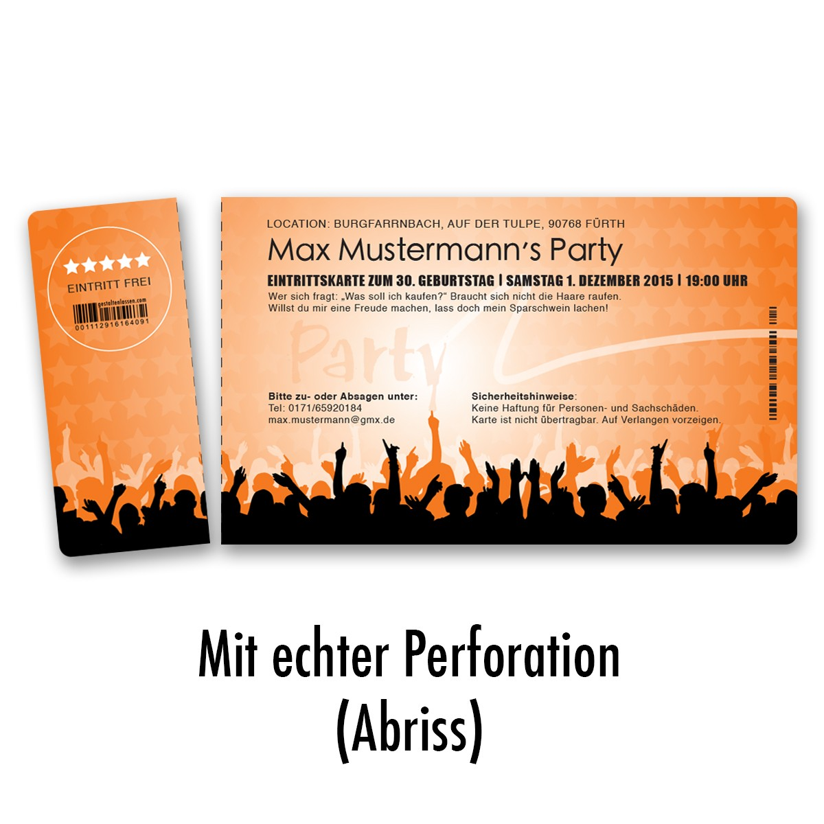 Einladungskarten Als Eintrittskarte   Festival Orange