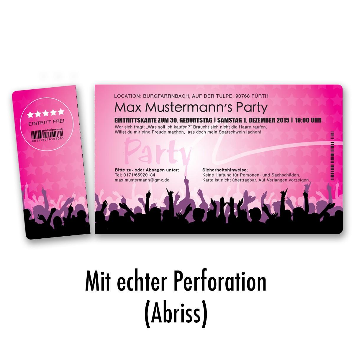 Einladungskarten als Eintrittskarte in Pink ab 45 Cent / Einladung ... - Exklusive Einladungskarten