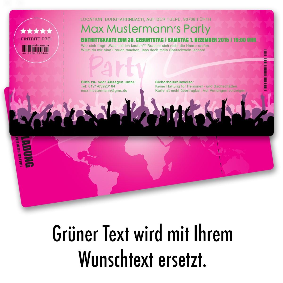 Einladungskarten Als Eintrittskarte   Festival Pink